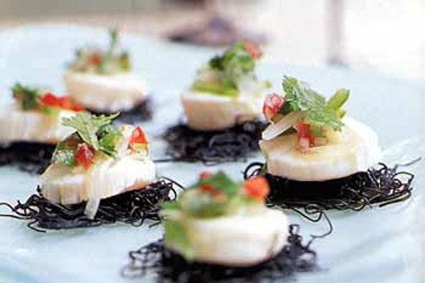 Scallop-ceviche-on-black-pasta-cakes-with-cilantro-salsa