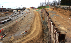 Construction of Interchange 71 merging Martin Luther King Drive