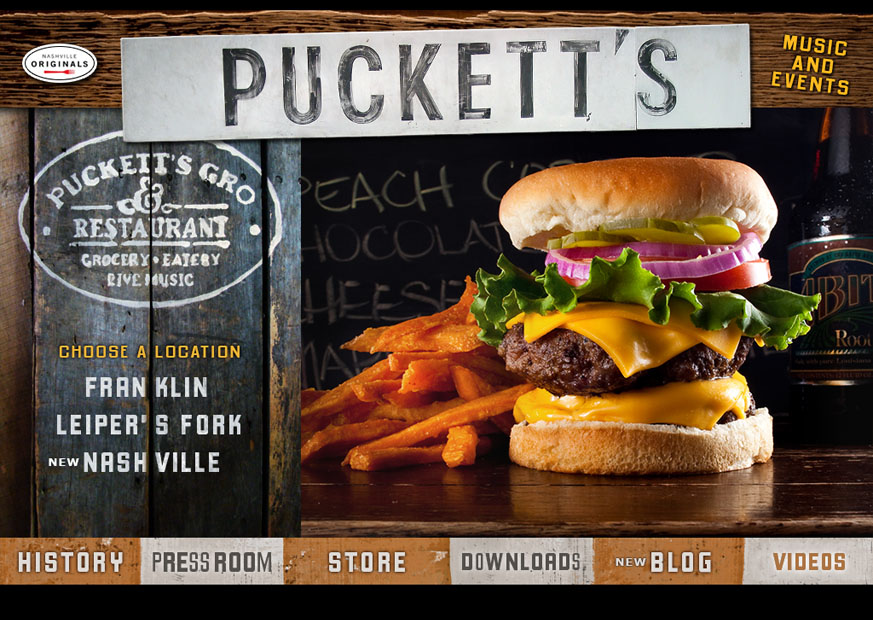Redesigned Puckett's Splash Page