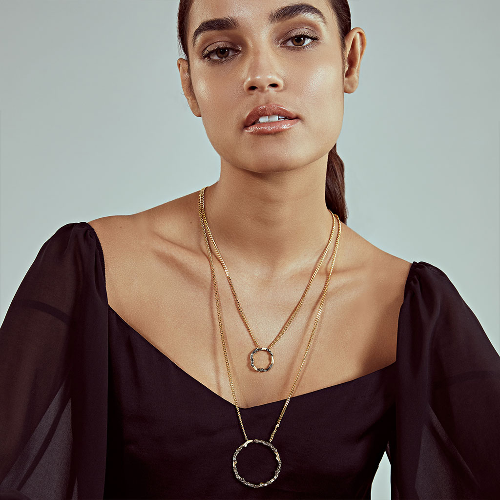 Layered Necklace Trend - Fool's Gold Pyrite Rim Layered Necklace - 001-2