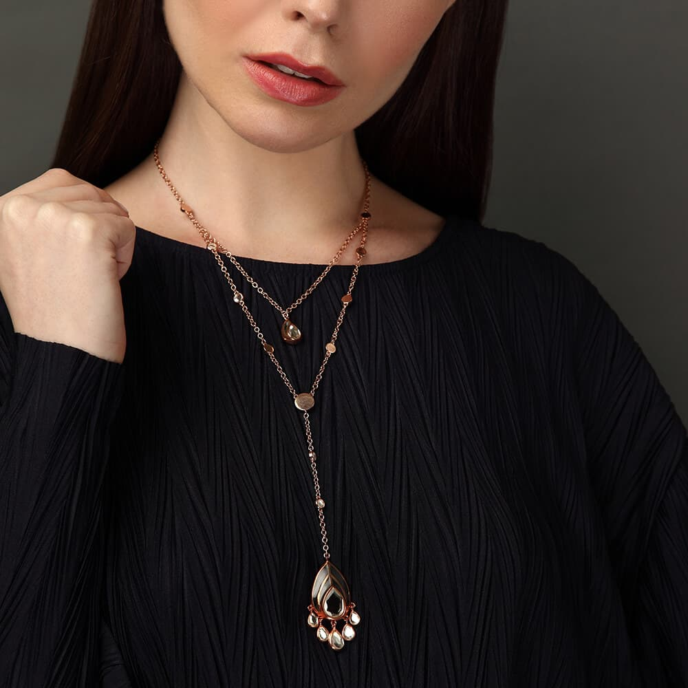 Layered Necklace Trend - Renaissance Rani Clear Mirror Y Necklace - 001