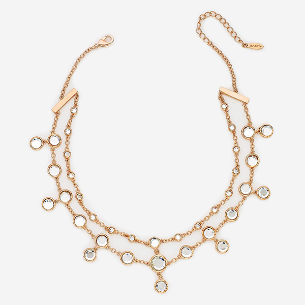 90s Inspired Chokers - Decadence Decoded Mirror Double Line Choker Necklace 001-600