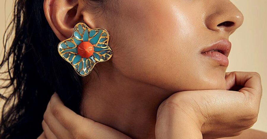 Summer Jewelry - La Conchita Abstract Floral Stud Earrings in Turquoise