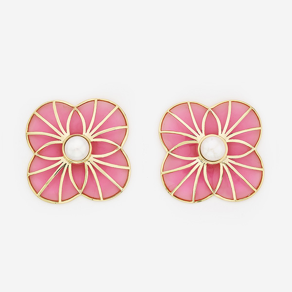 Indian Jewelry With the Hottest Fall 2019 Color Trends - Pink - Infinite Petals Pink Resin Stud Earrings