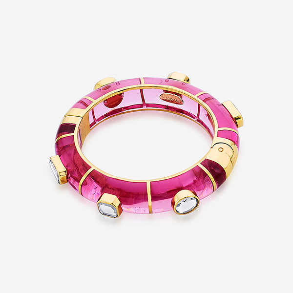 Indian Jewelry With the Hottest Fall 2019 Color Trends - Pink - Noor Pink Hinged Bangle