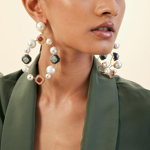 Luxe Fall Jewelry Trends - Jewel Tones - Noor Pearls & Multicolour Stone Statement Earrings