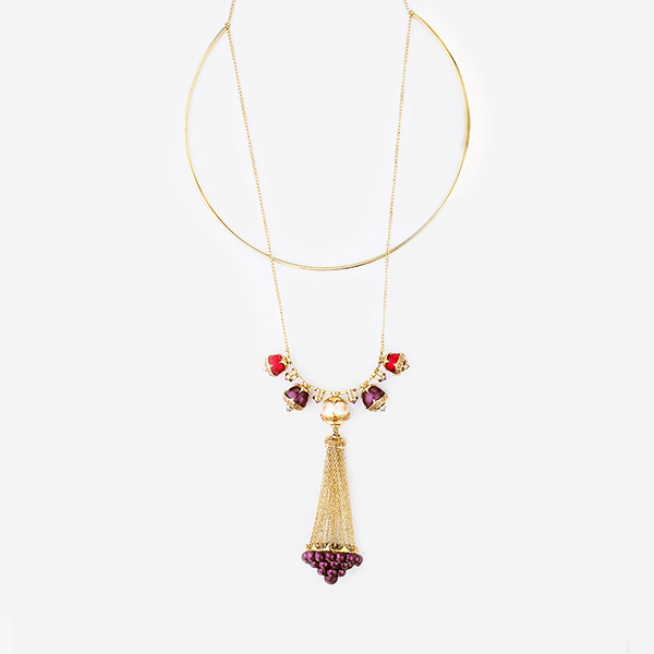 Luxe Fall Jewelry Trends - Jewel Tones - necklace - Empress Warrior Multi Color Pearl Tassel Necklace