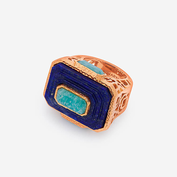 Luxe Fall Jewelry Trends - Jewel Tones - rings - Noor Lapis Rectangle Ring