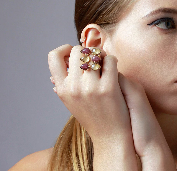 Luxe Fall Jewelry Trends - Jewel Tones - rings - Temple Muse Marsala Quartz Multistone Ring 2