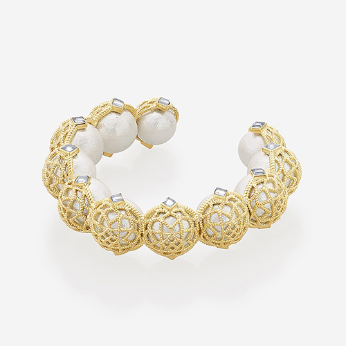 Modern Indian Pearl Jewelry On trend - Bracelets - Gypsy Soul Pearl & Filigree Stackable Cuff