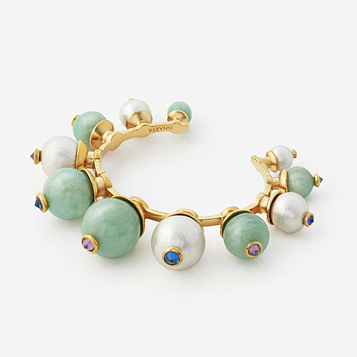 Modern Indian Pearl Jewelry On trend - Bracelets - Temple Muse Amazonite and Pearl Cuff