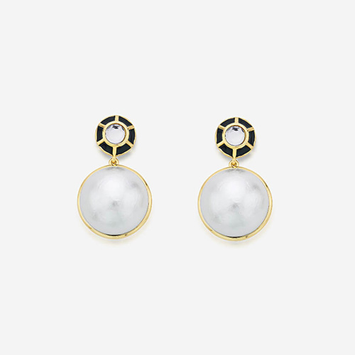 Modern Indian Pearl Jewelry On trend - Earrings - Ayaana Enamel and Pearl Drop Earrings