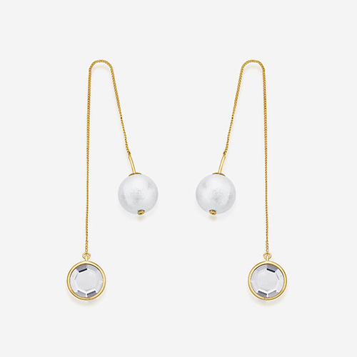 Modern Indian Pearl Jewelry On trend - Earrings - Ayaana Mirror and Pearl Needle-Thread Earrings