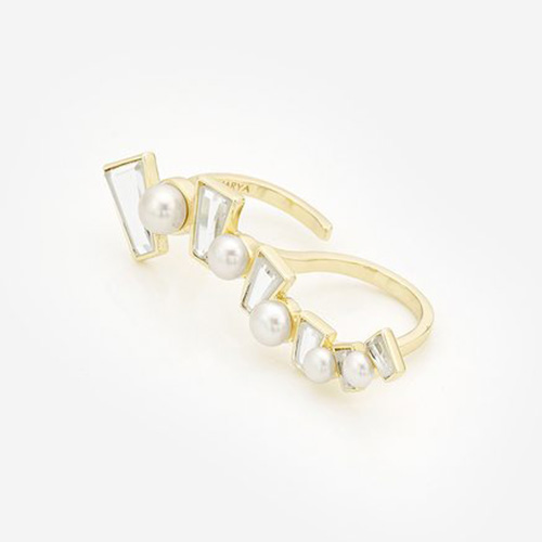Modern Indian Pearl Jewelry On trend - Rings - Angel Dust Mirror Long Horizontal Ring