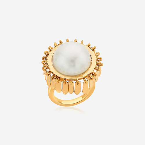 Modern Indian Pearl Jewelry On trend - Rings - Noor Pearl Fringe Ring