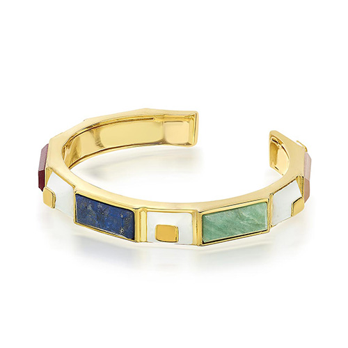 Grecian-Inspired Jewelry - Isharya - Multi Color Gems - Borderless Multistone Pyramid White Enamel Cuff