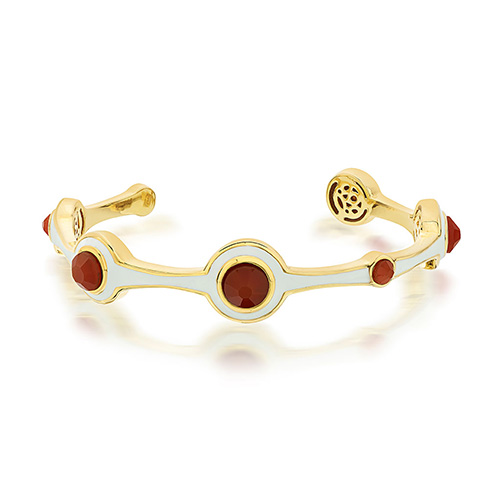 Modern Indian Jewelry Valentine's Day - Isharya - Borderless Circulus Red Onyx & Ivory Enamel Cuff