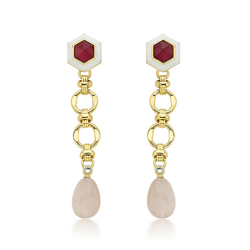 Modern Indian Jewelry Valentine's Day - Isharya - Borderless Quartz Long Earrings