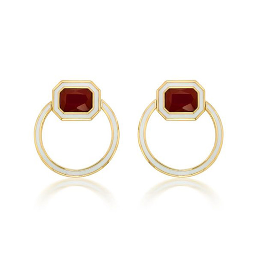 Modern Indian Jewelry Valentine's Day - Isharya - Borderless Red Onyx Shadow Loop Earrings