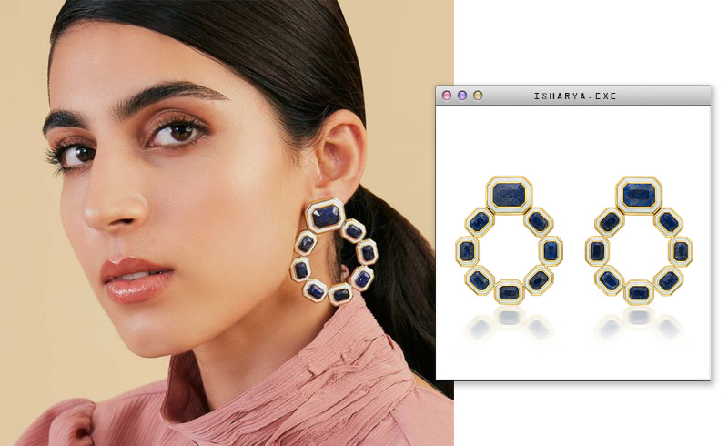 Virtual Meeting Style - Oversized Modern Indian Jewels - Isharya - Borderless Lapis & White Enamel Grecian Earrings-3