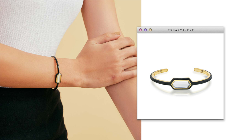 Virtual Meeting Style - Oversized Modern Indian Jewels - Isharya - Borderless Mirror & Enamel Cuff3