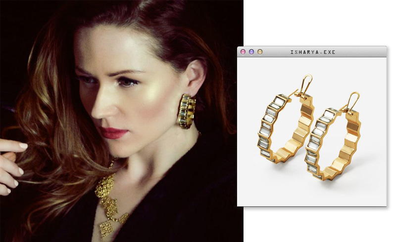 Virtual Meeting Style - Oversized Modern Indian Jewels - Isharya - Deco Mirror Hoop Earrings 3