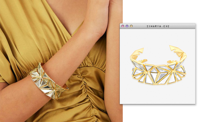Virtual Meeting Style - Oversized Modern Indian Jewels - Isharya - Demi Goddess Statement Knife Edge Mirror Cuff
