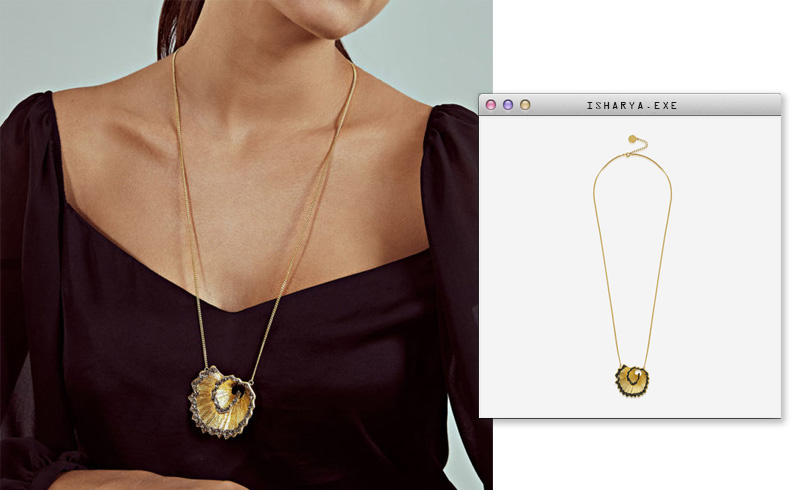 Virtual Meeting Style - Oversized Modern Indian Jewels - Isharya - Fool's Gold Detachable Layered Necklace-3