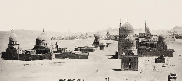 Emile Béchard. General View of the Tombs of the Caliphs, Cairo. Plate 16 from portfolio L'Egypte et la Nubie: Grand Album Monumental, HIstorique, Arhictectural. CCA COllection
