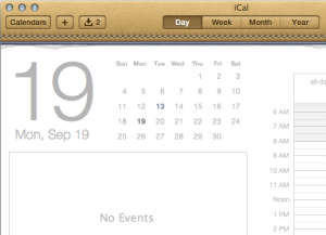 "My personal ""favourite"", enough to put me off using Mac OS X for several years, the fake leather stitching of iCal. Because we all still think 80s era filofaxes are awesome, obviously."