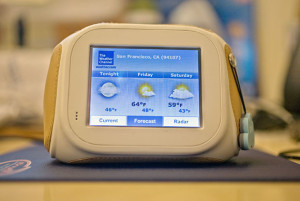 A weather widget displayed on a Chumby
