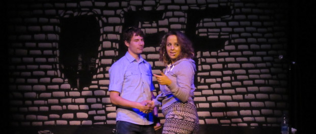 Lusia Omielan & Audience Member at Theatre Ste. Catherine. Photo by Robyn Homeniuk.