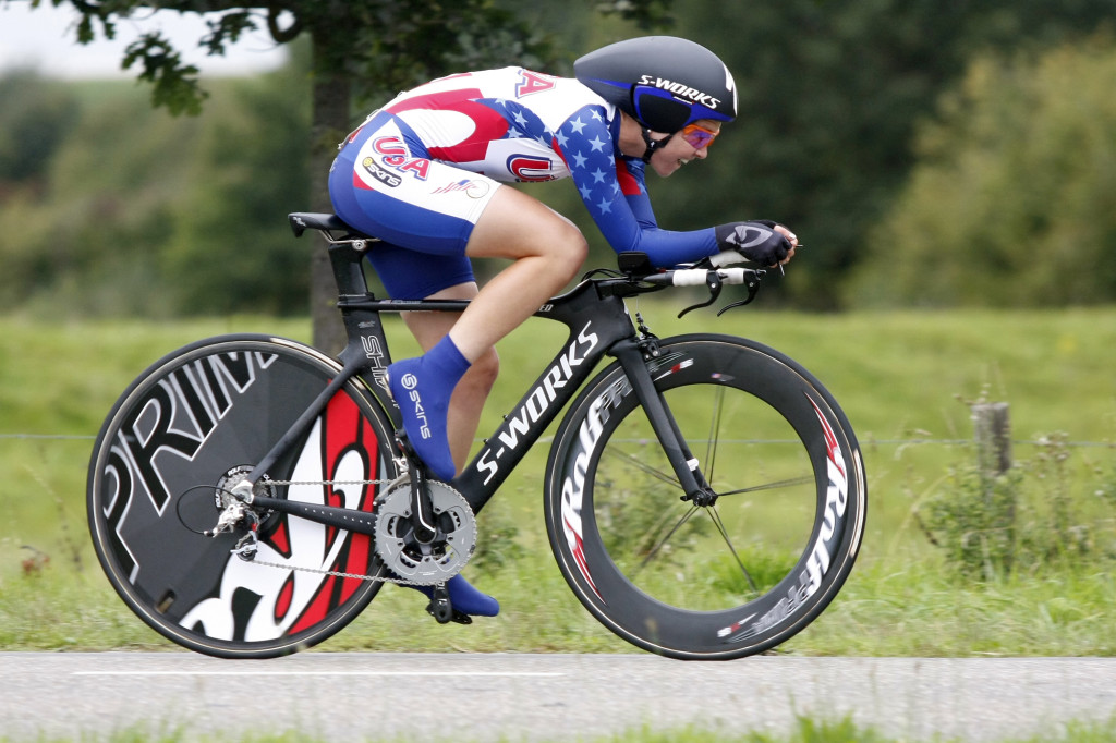 Addy Albershardt races at the 2010 World Champs in junior ITT.  (Bart Hazen Photo)