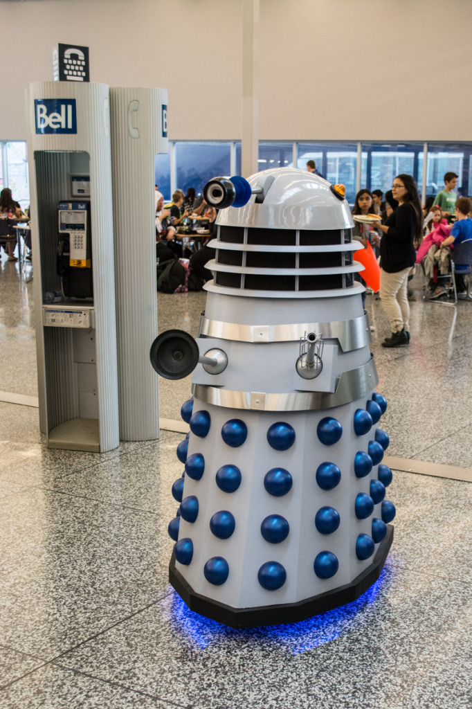 Dalek with the wrong phone booth. Photo Jean Frederic Vachon. Montreal Comiccon.