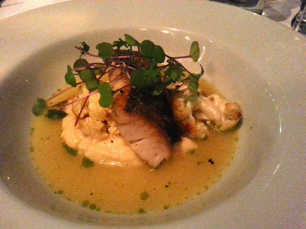 Dory, Roasted Cauliflower, Celeriac Puree and Kaffir Lime, Tumeric Fumet. Photo by Annie Shreeve