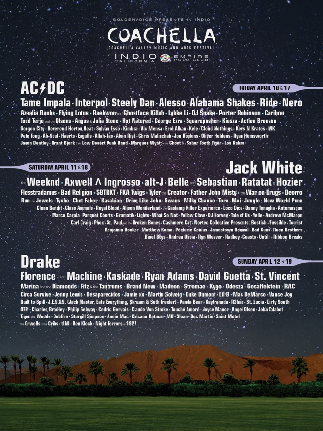 Coachella Lineup 2015 from coachella.com