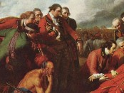 "The end of the beginning: General Wolfe, while he did not live to see the British win the Battle of Plains of Abraham, marked the turning point of Quebec's history and the beginnings of English law in Quebec. Detail of ""The Death of General Wolfe"" (1770) by Benjamin West."