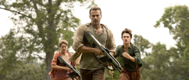 Insurgent. Tris (Shailene Woodley), Four (Theo James, center), Caleb (Ansel Elgort, right)