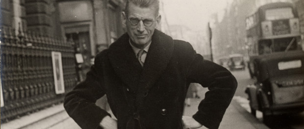 Photograph of Samuel Beckett taken by a street photographer outside Burlington House in Piccadily, ca. 1954. Photo courtesy University of Texas at Austin