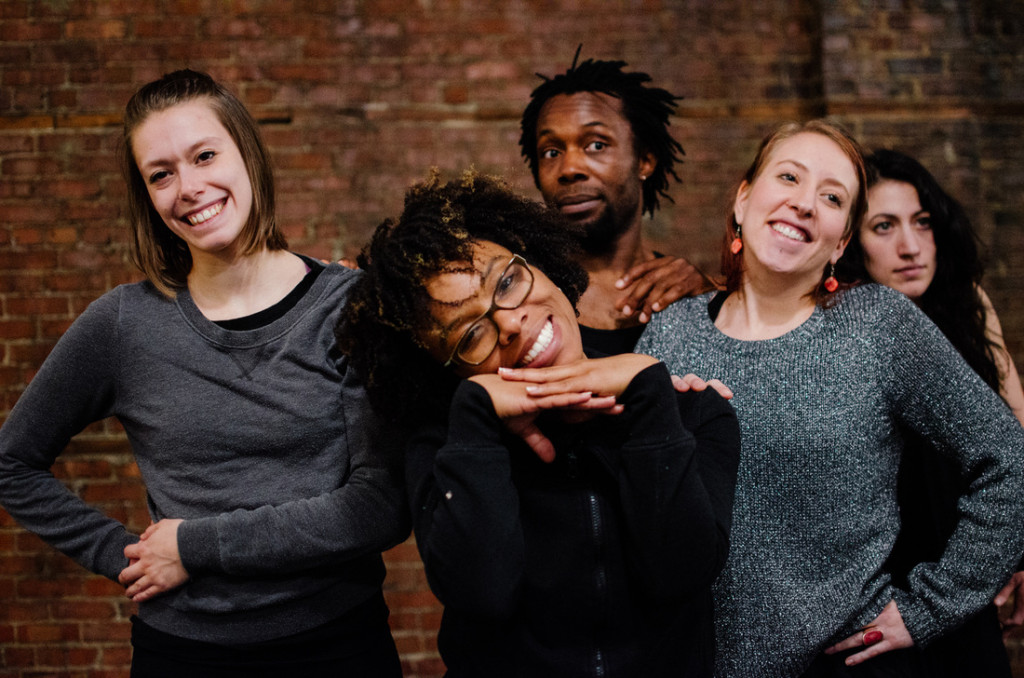 Cast members at rehearsal: (left to right) Mathilde Gesseaume-Rioux, Jenny Brizard, Mohamed N'Diaye, Genevieve Lauzon, Marie-Denise Bettez. Photo by Tam Lan Truong