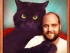 Chris Locke and his cat Wolfman