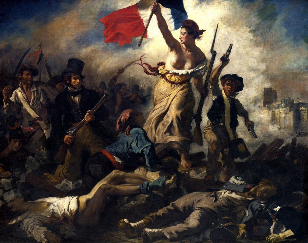 """Eugene Delacroix's """"Liberty Leading the People"""", 1830, currently in the Louvre. Photo credit: Wikimedia Commons."""