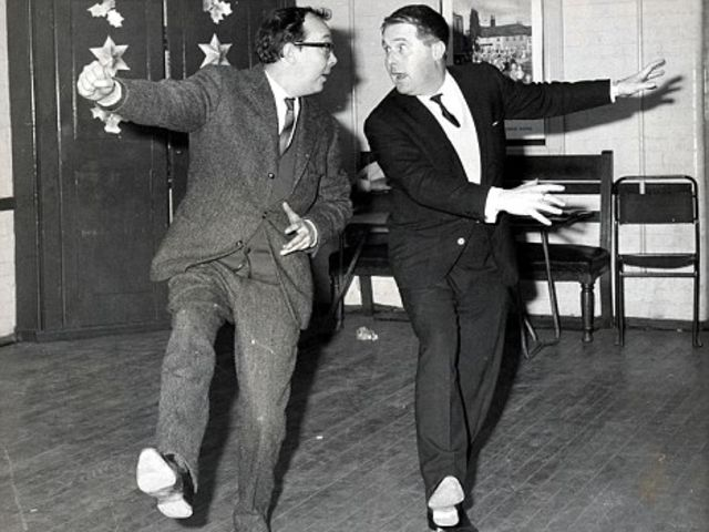 Eric Morecambe (left) and Ernie Wise (right) rehearsing a routine. Photo credit: The Daily Mail.