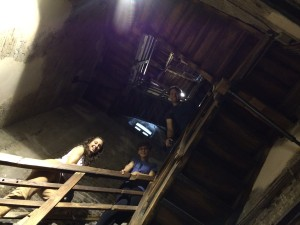 Jeannine, Sophie, and Jason take the first steps up, Bologna, Photo: Julie Santini