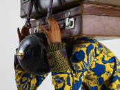 Yinka Shonibare, MBE. Homeless Child 3 (detail), 2013. Life-size fiberglass mannequin, Dutch wax printed cotton, mixed media. © Yinka Shonibare MBE / Photo: Stephen White / SODRAC / Courtesy James Cohan Gallery, New York and Shanghai.