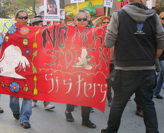 Banner. Missing and Murdered Aboriginal Women March and Vigil. Photo Rachel Levine