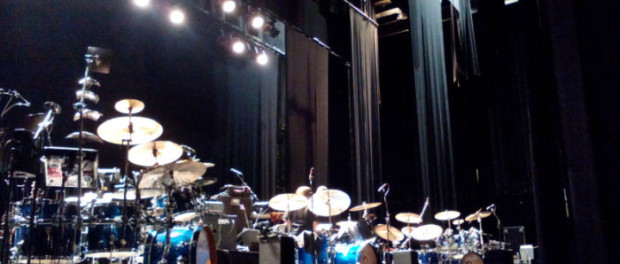 All three drumsets in a needed rest . King Crimson. Photo Ville Kiviniemi