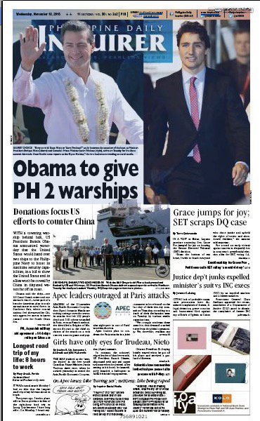 trudeau on philippine newspaper