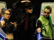 Nikki Haggart as Plug, Kenny Wong as Senator Frank and Sean Colby as The Green Zinger in the upcoming Captain Aurora: A Superhero Musical @ WILDSIDE 2016. Joseph Ste. Marie Photography