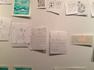 Some works, including the story about Tyler and Kristin. Photo by Cassandra Marsillo